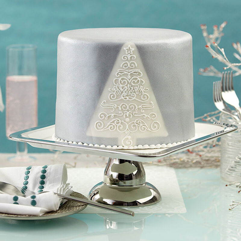 Christmas Fondant Cake With Silver Shimmer image number 0