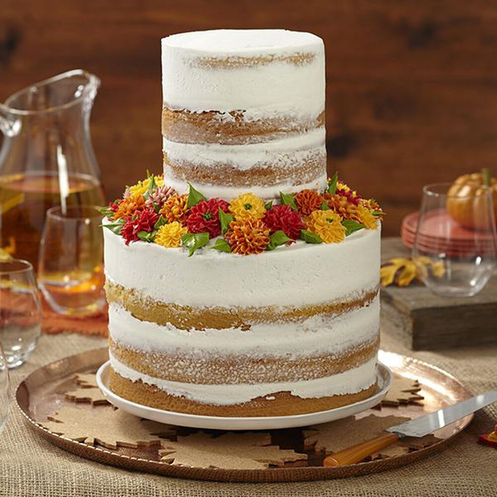 Fall Naked Cake Fall Cake Recipe Wilton