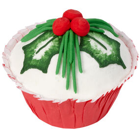 Holiday Holly Pine Cupcakes