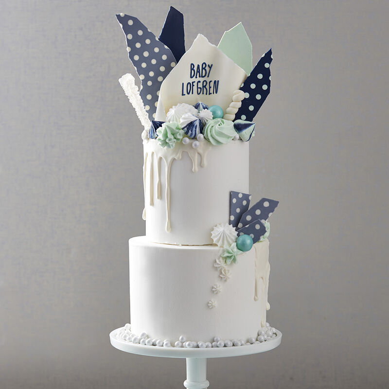 Hues of Blues Baby Shower Cake image number 0