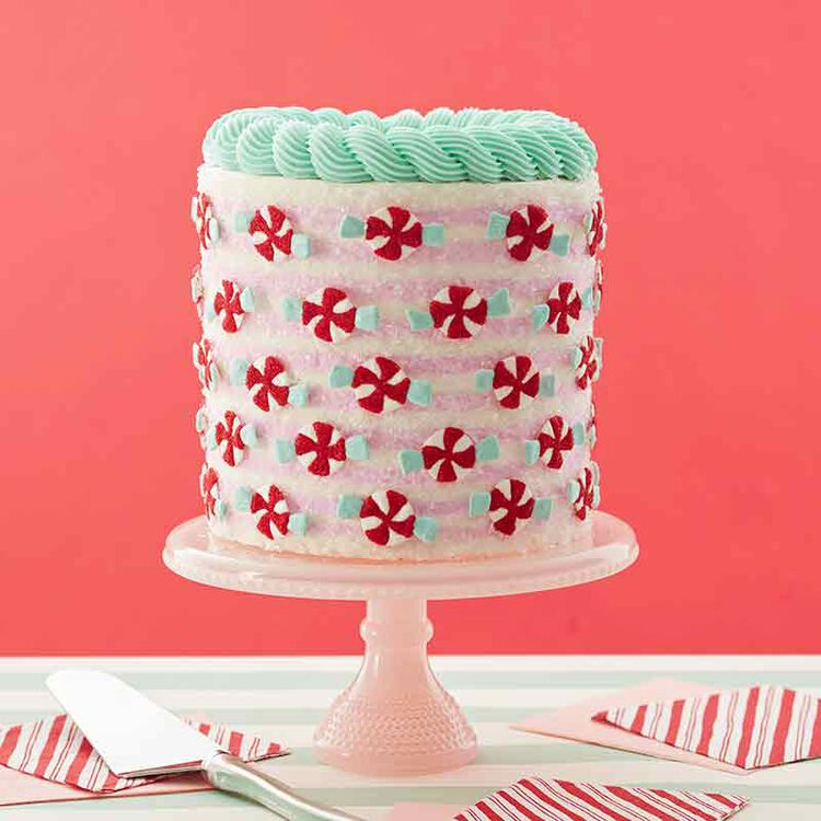 christmas cake with peppermint decorations