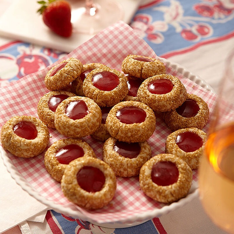 Strawberry Champagne Thumbprint Cookies Recipe image number 0