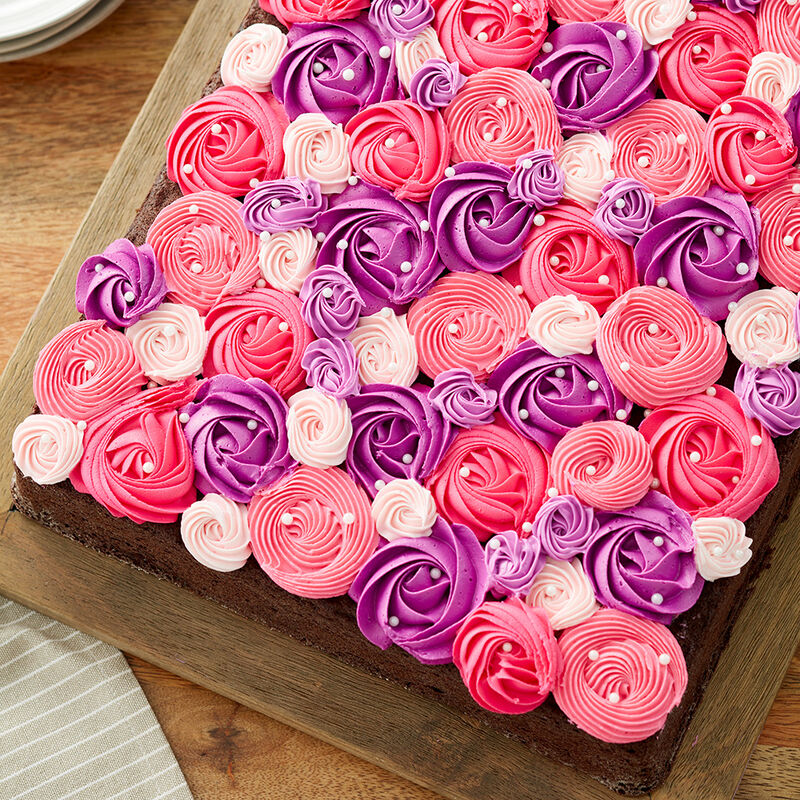Pink and Purple Rosette Sheet Cake image number 1