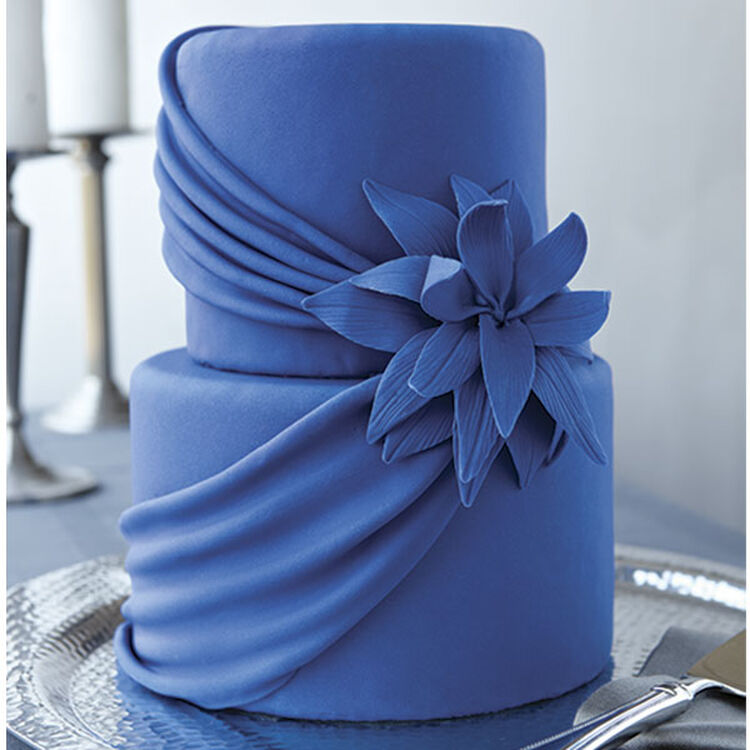 Blue Drape Wedding Cake