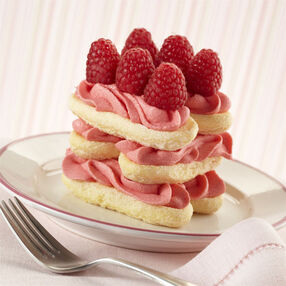 Raspberry Mousse Cake Stacks