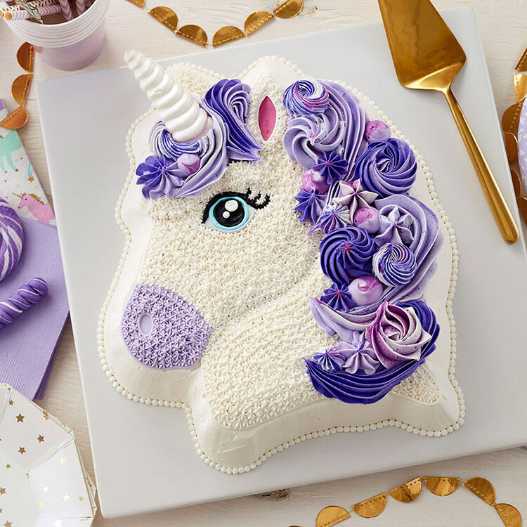 Purple 3D Unicorn Cake