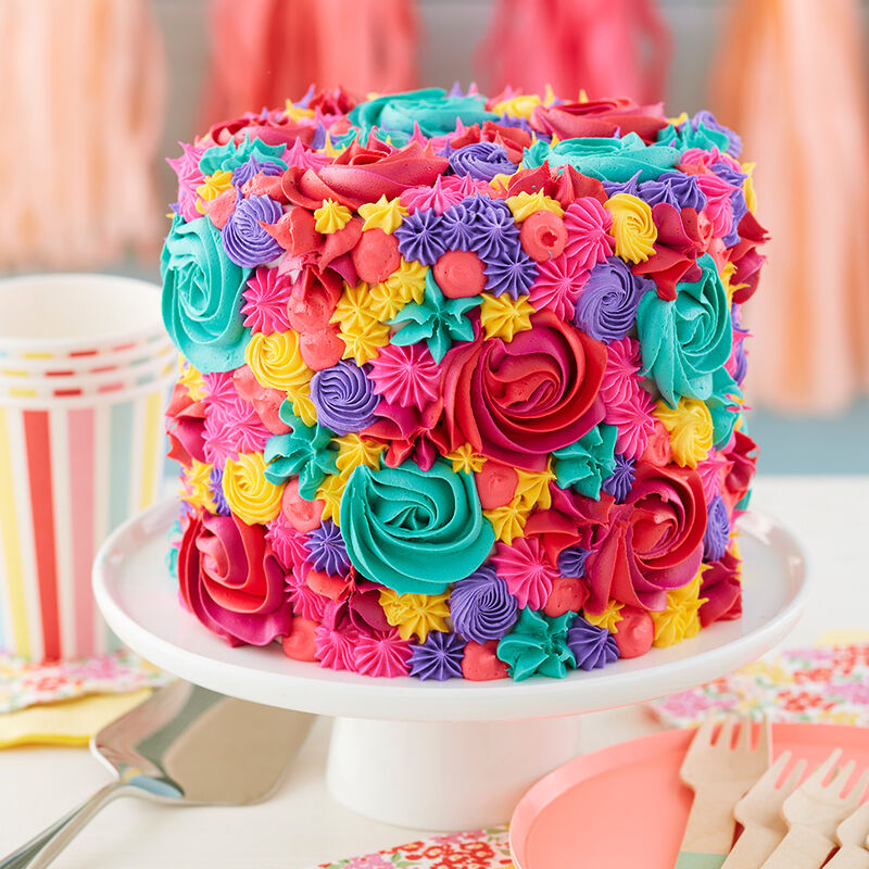 Bright Summer Buttercream Cake - Buttercream Rosettes and stars in summer colors image number 1