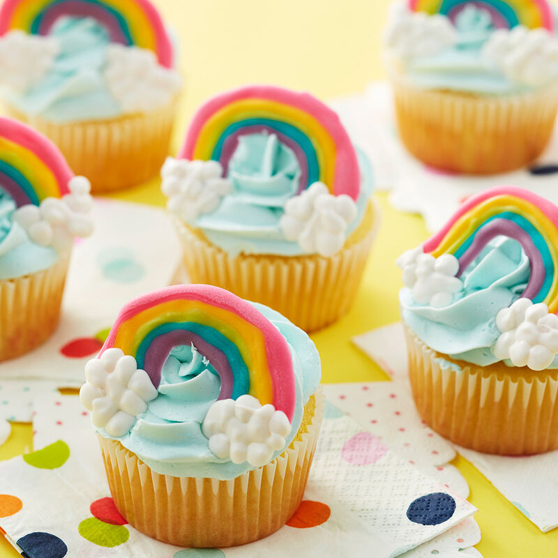 Candy Rainbow Cupcakes - Homemade rainbow cupcake toppers image number 0