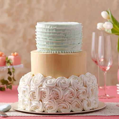 how to decorate tiered wedding cakes golden shimmer rosette cake wilton 15682