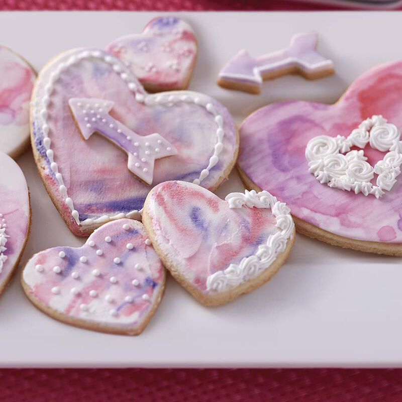 Hearts Abound Watercolor Cookies image number 1