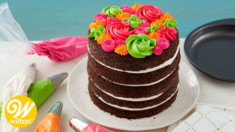 How to Make a Bright and Bold Rosette Cake Video