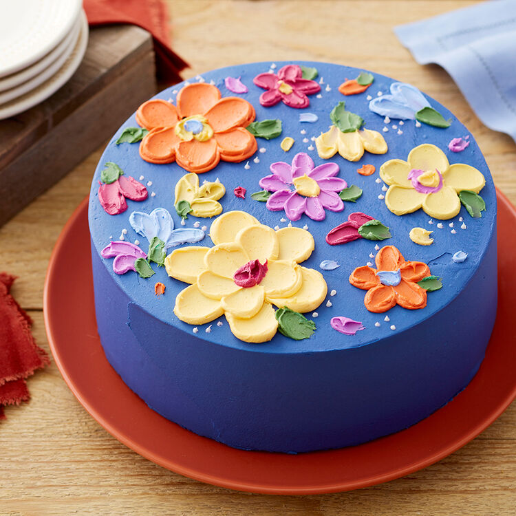 Easy Painted Buttercream Flower Cake