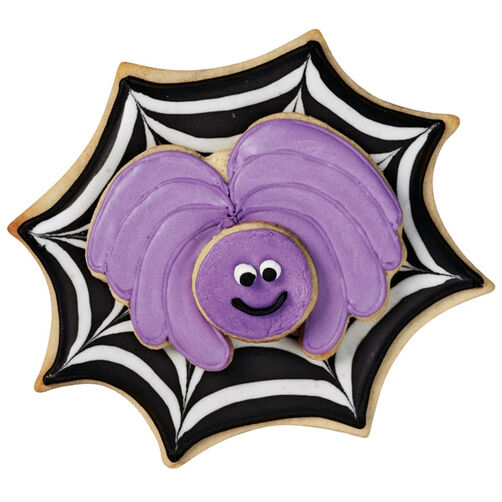 Black Striped Web and Purple Spider Cookies