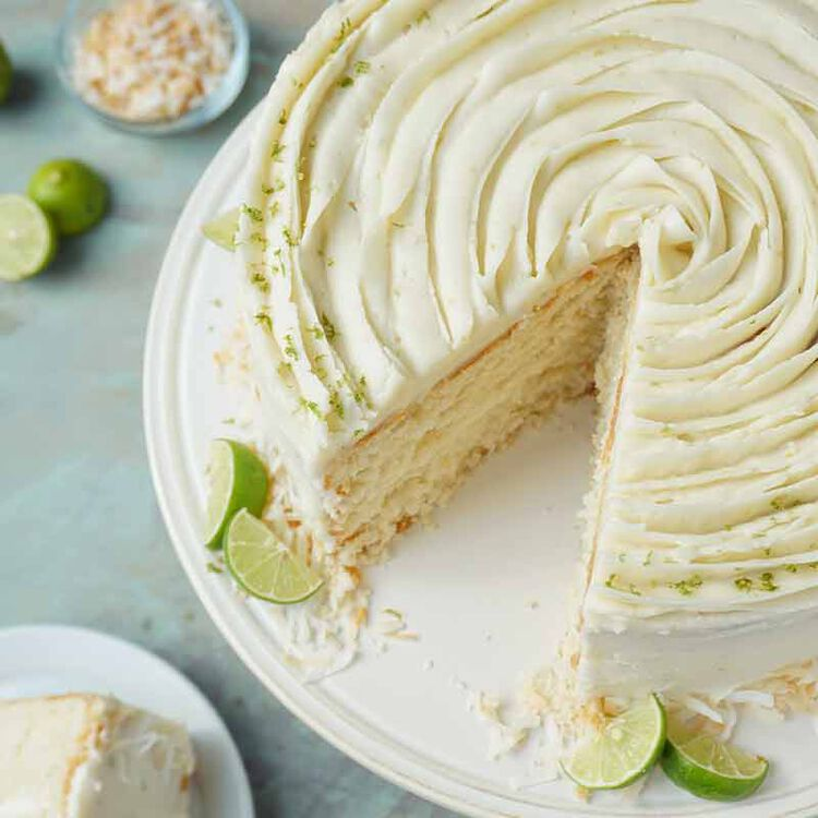 cake frosted with key lime buttercream frosting