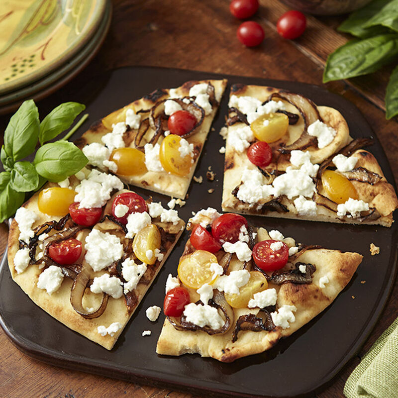 Basil Goat Cheese and Caramelized Onion Flatbread Recipe image number 0