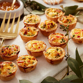 Mini Ham and Chive and Pimento Cheese Quiches