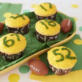 Football Cupcakes with football cupcake liners