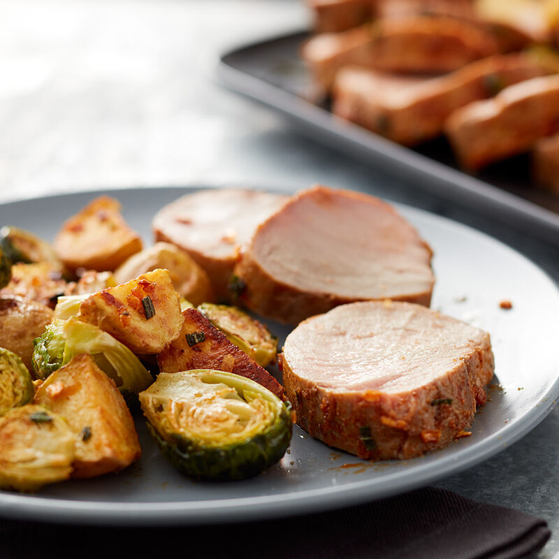 Pork Tenderloin with Brussels Sprouts and Potatoes Recipe image number 0