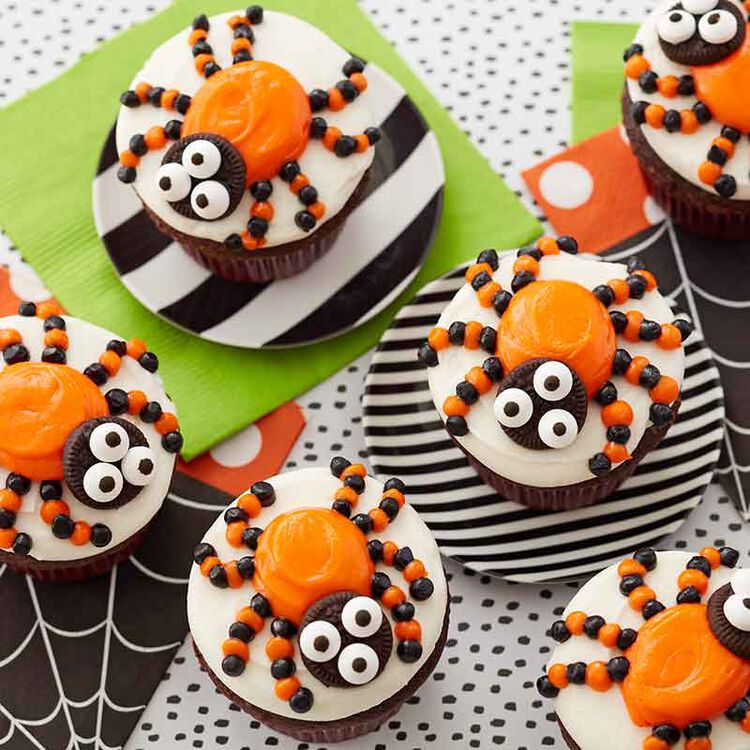 halloween chocolate cupcakes decorated with spiders