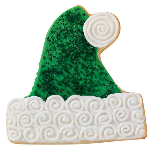 Sparkling Green Santa Hat Cookie