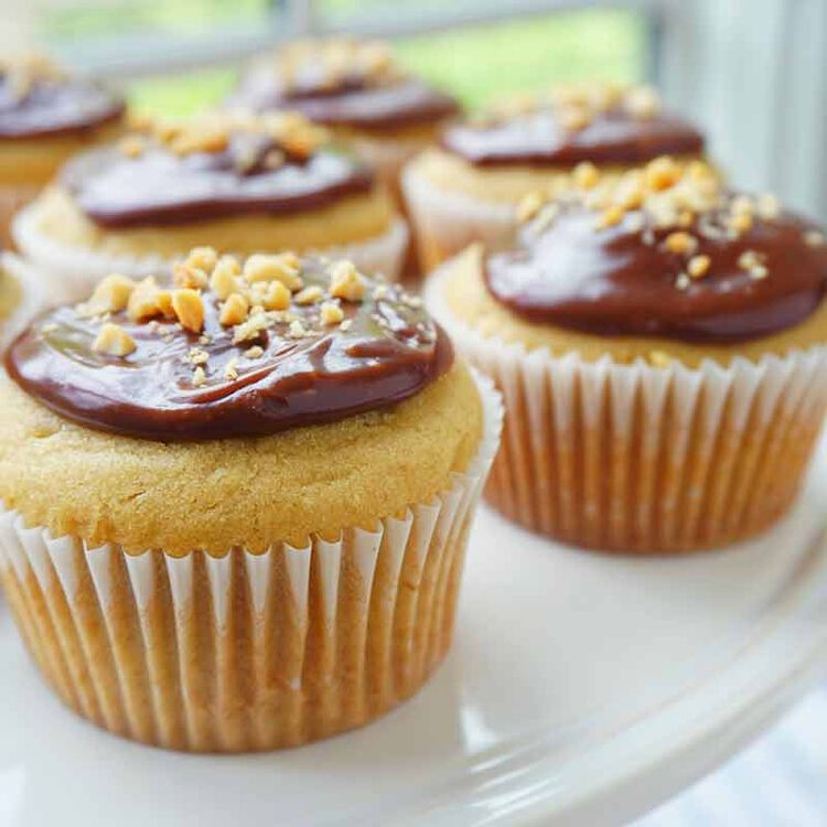 peanut butter cupcakes topped with a milk chocolate glaze and crushed peanuts