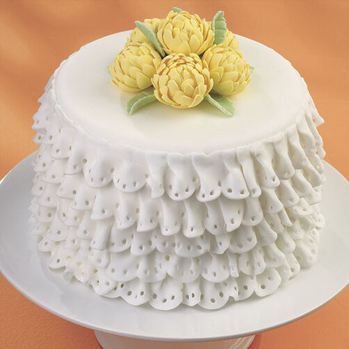 Romantic Ruffles and Mums Cake