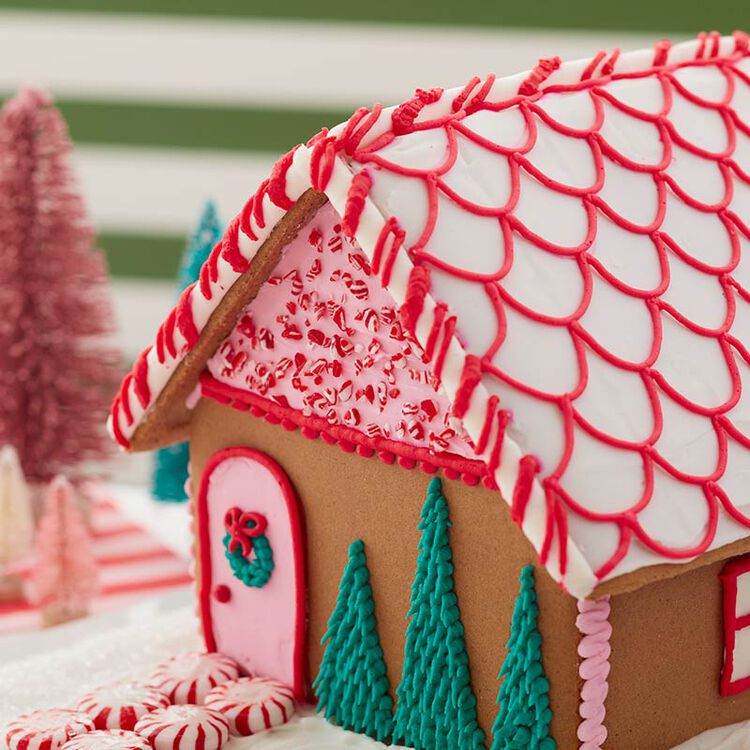 Gingerbread House with Candy Cane Trim