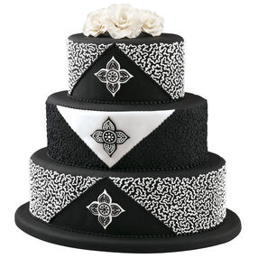 Cornelli Crest Black and White Wedding Cake