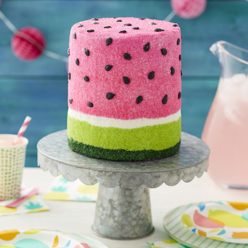 Summer Watermelon Cake, Pink and green dyed cake inside, with pink and green sugars, with black icing seeds image number 1