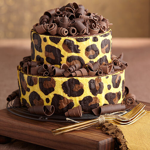 Leopard Print Stand-Up Inlay Cake