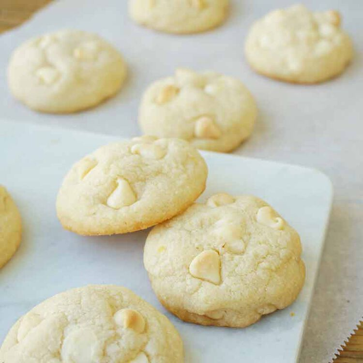 sugar cookies with lemon flavor and decorated with white chocolate chips
