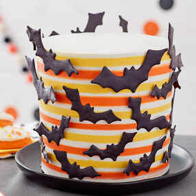 Striped Halloween Bat Cake