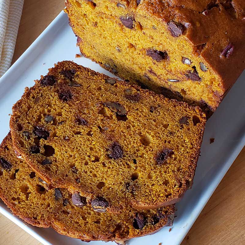 Pumpkin bread with chocolate chips image number 1