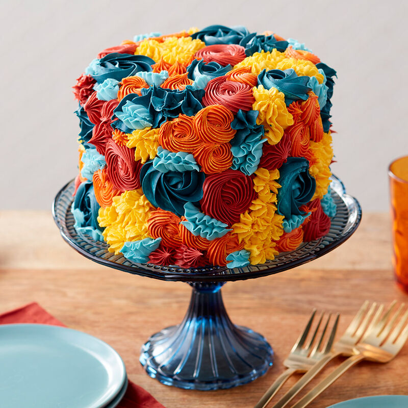 Fall Flowers Buttercream Cake image number 0
