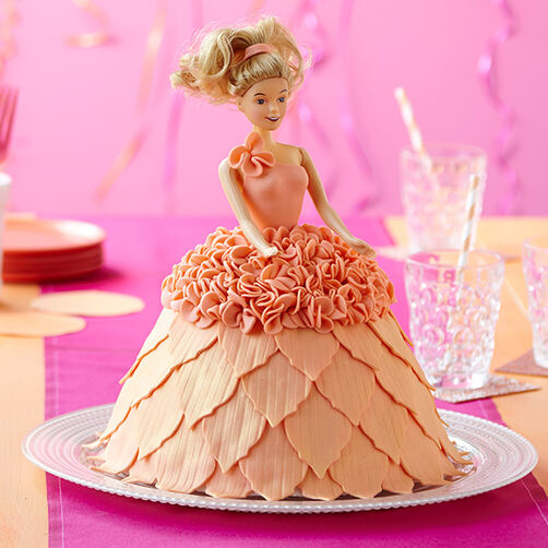 Doll in Peach Dress Cake