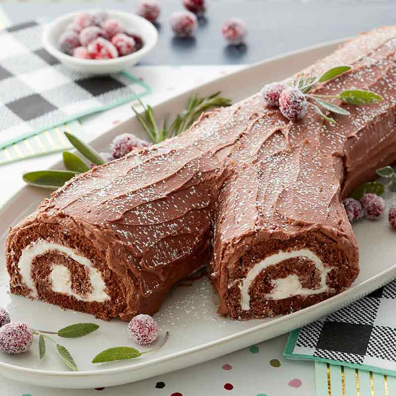 classic chocolate yule log cake image number 0