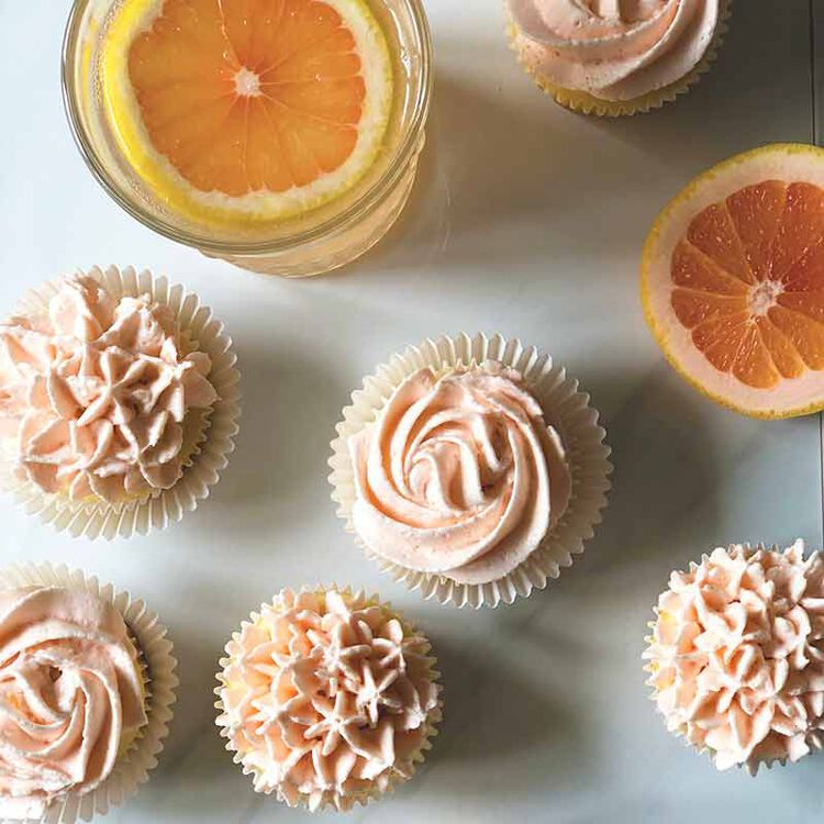 paloma flavored cupcakes and buttercream frosting