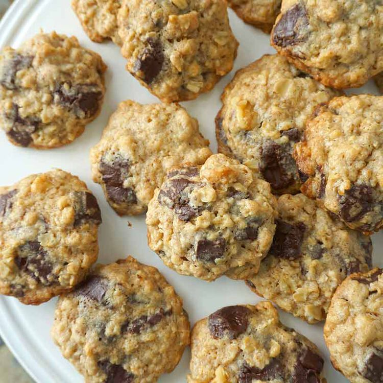 oatmeal chocolate chunk cookies served on a plate