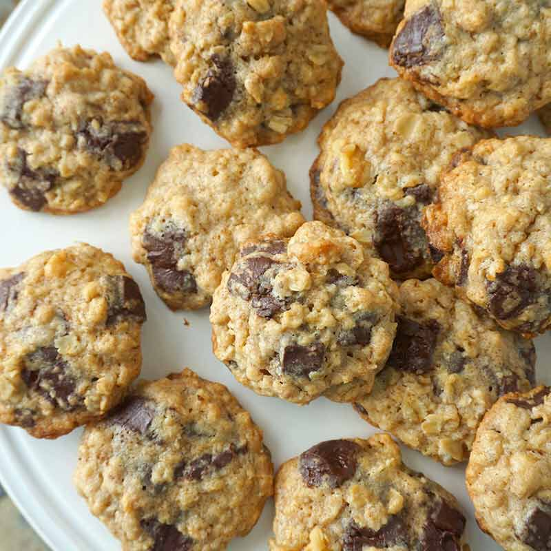 oatmeal chocolate chunk cookies served on a plate image number 1