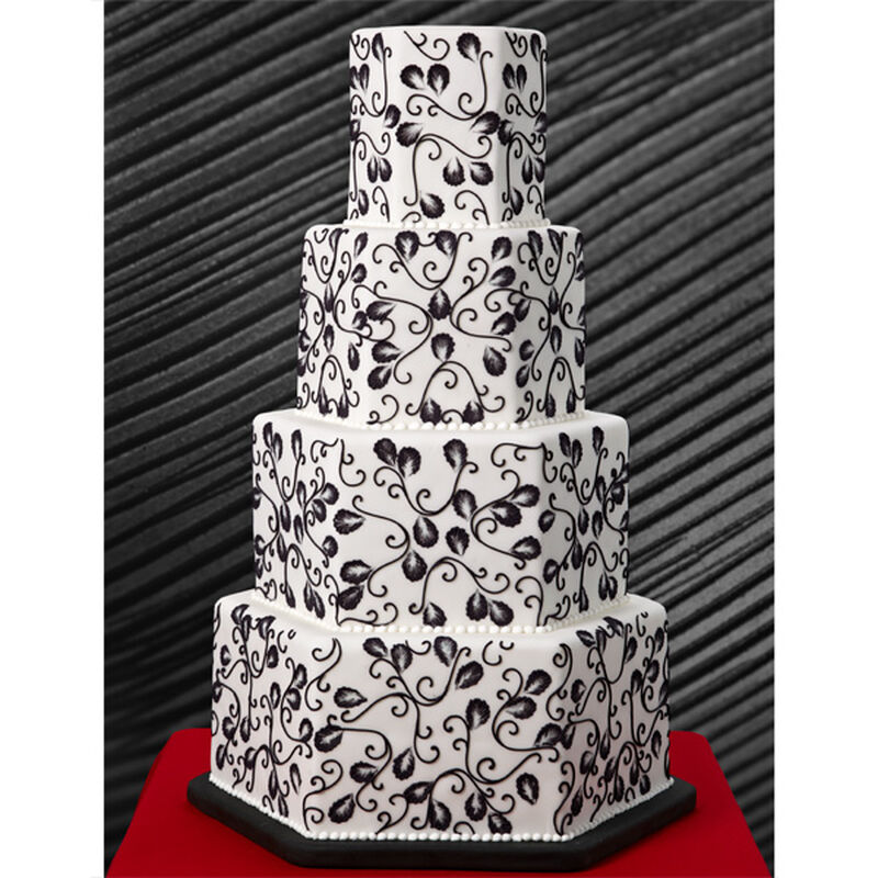 Ebony Vines Hexagon Wedding Cake image number 0
