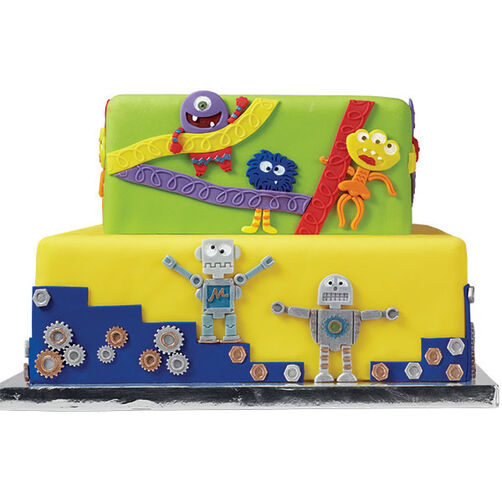 Robots and Monsters Fondant Cake