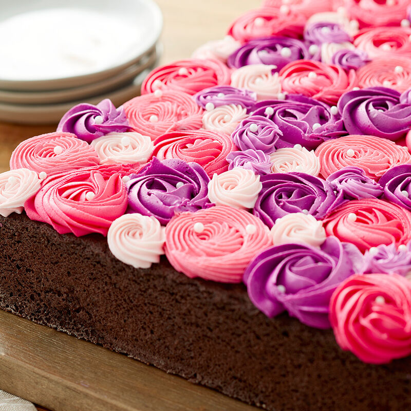 Pink and Purple Rosette Sheet Cake image number 2