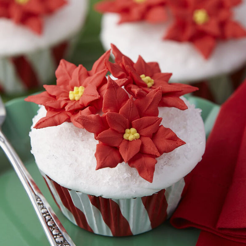 Festive Poinsettia Cupcakes image number 0