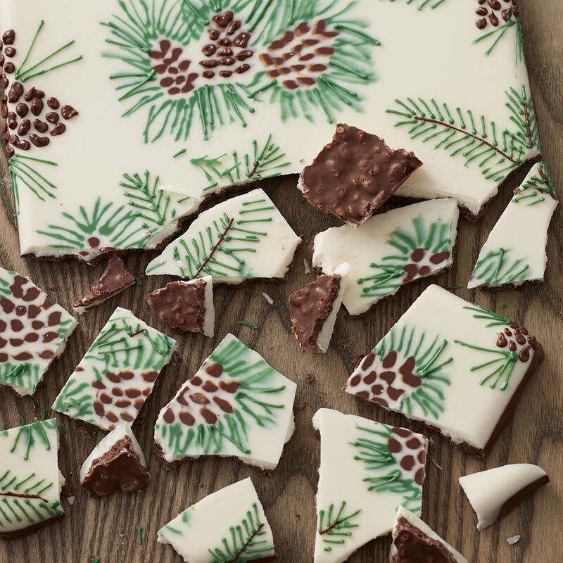 Chocolate Christmas Candy Bark with Crispy Rice Cereal image number 0