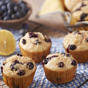 Healthier Lemon Blueberry Muffins