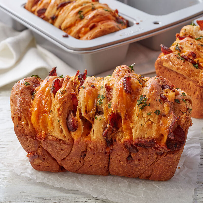 Mini Bacon Cheddar Pull Apart Loaves Recipe image number 0