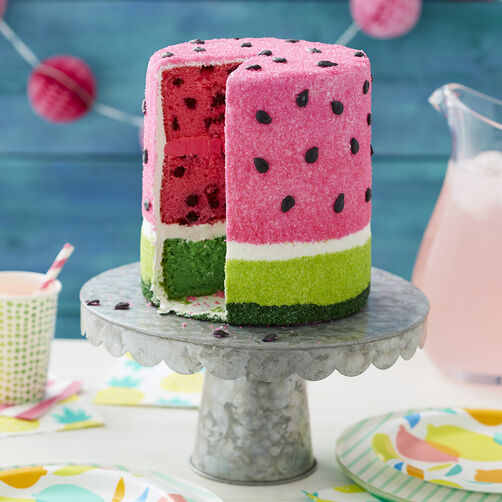 Summer Watermelon Cake, Pink and green dyed cake inside, with pink and green sugars, with black icing seeds
