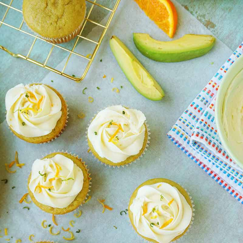 citrus avocado cupcakes with vanilla buttercream frosting image number 2