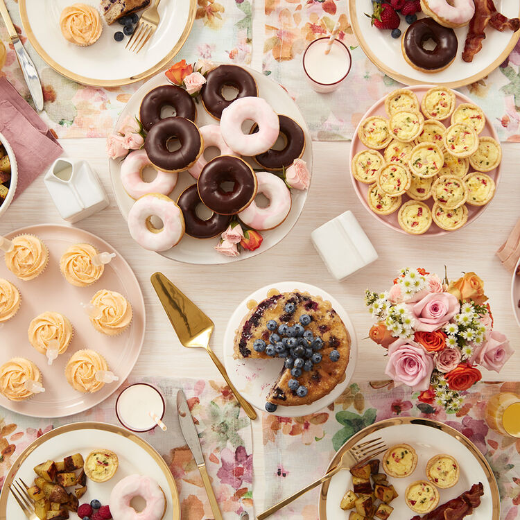 Tablescape of a Mother's Day brunch including the Mom-osa Cupcakes