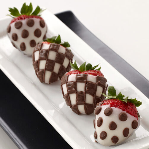 Dotted and Checked Dipped Strawberries